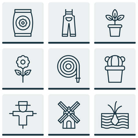 Set Of 9 Planting Icons. Includes Decorative Plant, Mill, Fire Tube And Other Symbols. Beautiful Design Elements.