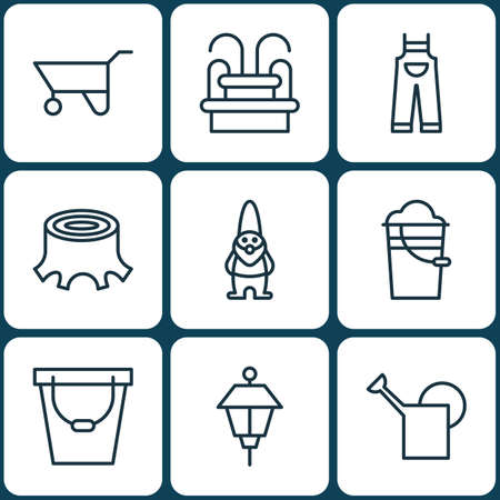 bailer: Set Of 9 Planting Icons. Includes Bailer, Bucket, Garden Clothes And Other Symbols. Beautiful Design Elements.