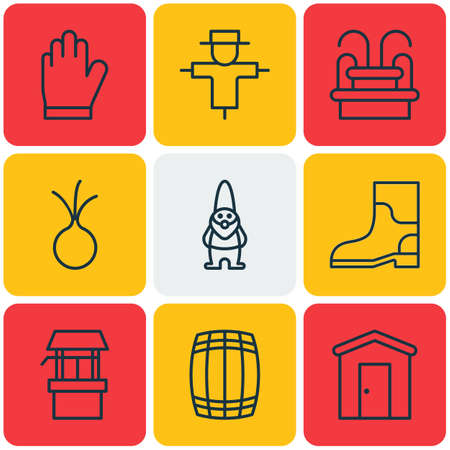 bugaboo: Set Of 9 Farm Icons. Includes Bugbear, Water Monument, Water Source And Other Symbols. Beautiful Design Elements.