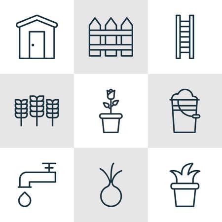 Satz von 9 Landwirtschaft Icons. Beinhaltet Floret, Bauernhaus, Weizen und andere Symbole. Schöne Design-Elemente.