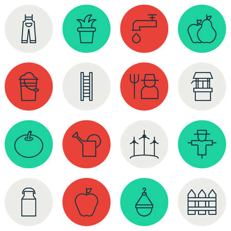 bailer: Set Of 16 Plant Icons. Includes Grower, Windmill, Bailer And Other Symbols. Beautiful Design Elements.