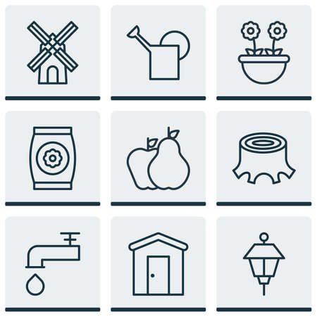bailer: Set Of 9 Holticulture Icons. Includes Fertilizer, Bailer, Lantern And Other Symbols. Beautiful Design Elements. Illustration