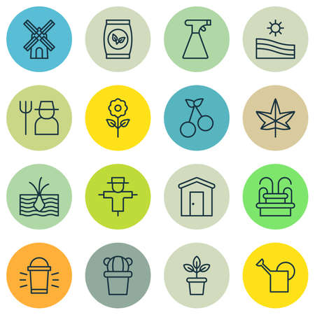 bugaboo: Set Of 16 Planting Icons. Includes Growing Plant, Sweet Berry, Farmhouse And Other Symbols. Beautiful Design Elements. Illustration