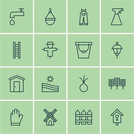 bugaboo: Set Of 16 Gardening Icons. Includes Meadow, Hanger, Bugbear And Other Symbols. Beautiful Design Elements. Illustration