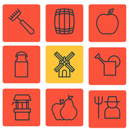 bailer: Set Of 9 Farm Icons. Includes Water Source, Jug, Bailer And Other Symbols. Beautiful Design Elements.