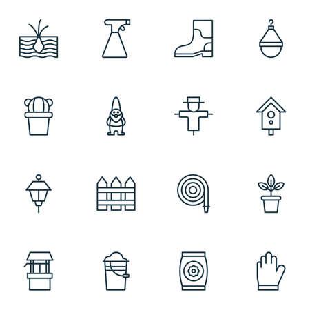 Set Of 16 Gardening Icons. Includes Dwarf, Barrier, Sprinkler And Other Symbols. Beautiful Design Elements.