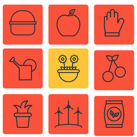 Set Of 9 Holticulture Icons. Includes Nectarine, Bush Pot, Herb And Other Symbols. Beautiful Design Elements. Illustration