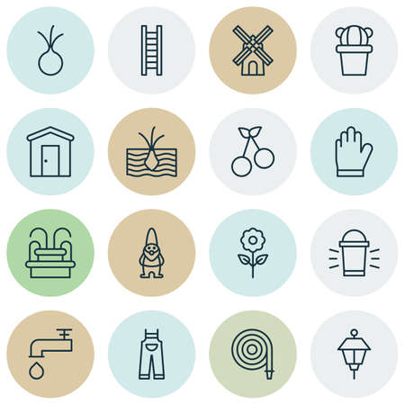 Set Of 16 Agriculture Icons. Includes Fire Tube, Growing Plant, Hang Lamp And Other Symbols. Beautiful Design Elements.