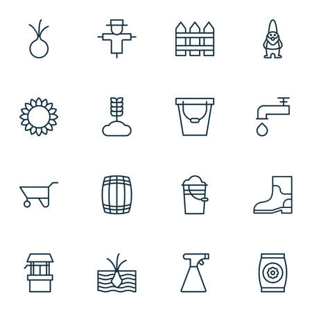 Set Of 16 Garden Icons. Includes Rubber Boot, Water Source, Bugbear And Other Symbols. Beautiful Design Elements.