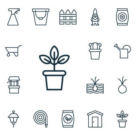bailer: Set Of 16 Holticulture Icons. Includes Wheelbarrow, Flowerpot, Bailer And Other Symbols. Beautiful Design Elements. Illustration