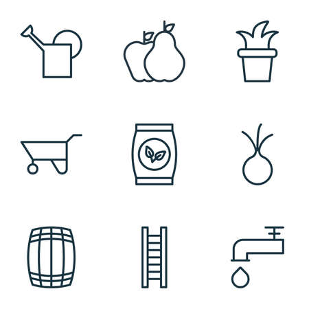 spigot: Set Of 9 Plant Icons. Includes Stairway, Wheelbarrow, Spigot And Other Symbols. Beautiful Design Elements. Illustration