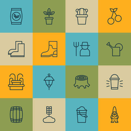 bailer: Set Of 16 Planting Icons. Includes Bailer, Grower, Lantern And Other Symbols. Beautiful Design Elements.