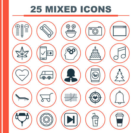 Set Of 25 Universal Editable Icons. Can Be Used For Web, Mobile And App Design. Includes Elements Such As Program, Vga Cord, Digital Camera And More.