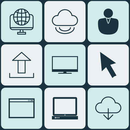 wap: Set Of 9 Online Connection Icons. Includes Send Data, Save Data, Mouse And Other Symbols. Beautiful Design Elements.