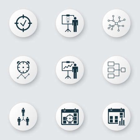 Set Of 9 Board Icons. Includes Approved Target, Group Organization, Conversation And Other Symbols. Beautiful Design Elements. Illustration