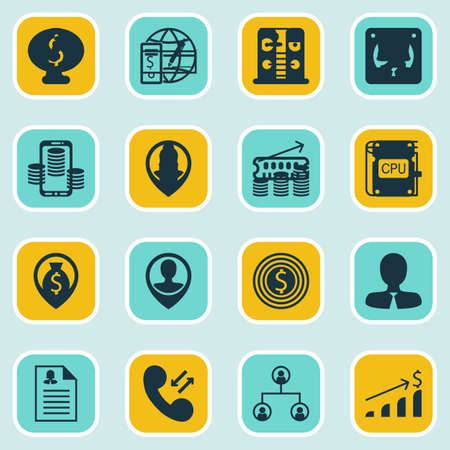 Set Of 16 Management Icons. Includes Business Deal, Employee Location, Coins Growth And Other Symbols. Beautiful Design Elements.