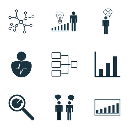 Set Of 9 Executive Icons. Includes Decision Making, Bar Chart, System Structure And Other Symbols. Beautiful Design Elements. Illustration
