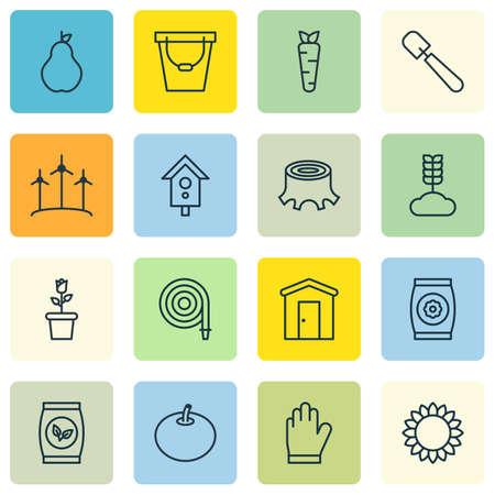 Garten Icons of Grains Birdhouse Bauernhaus und andere Symbole Vektorgrafik