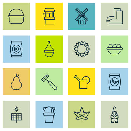 bailer: Set Of 16 Farm Icons. Includes Grains, Ovum, Bailer And Other Symbols. Beautiful Design Elements.