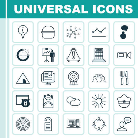 Set Of 25 Universal Editable Icons. Can Be Used For Web, Mobile And App Design. Includes Elements Such As Camping House, E-Study, Price And More. Illustration