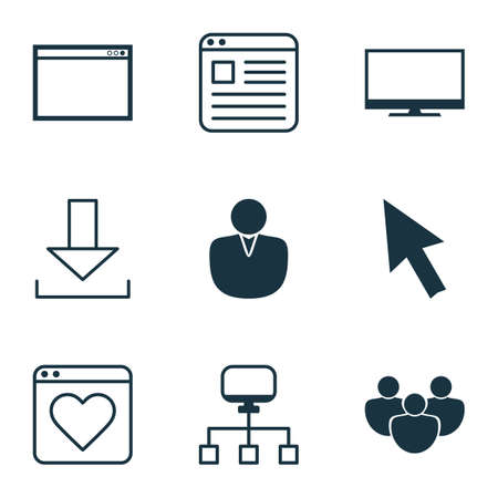 wap: Set Of 9 Internet Icons. Includes Account, Team, Login And Other Symbols. Beautiful Design Elements.