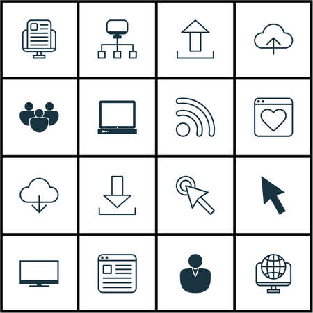 Set Of 16 Web Icons Includes Website Page Local Connection