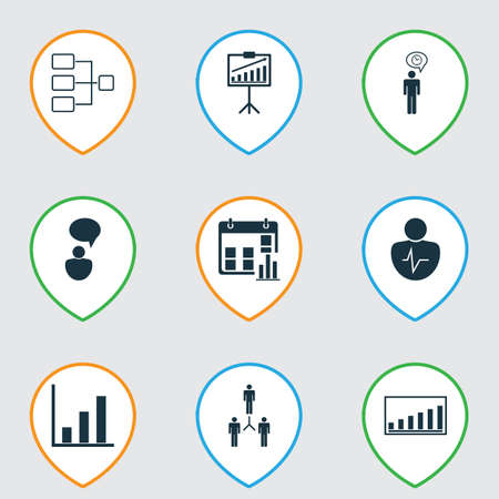 Set Of 9 Administration Icons. Includes Presentation Date, Group Organization, Bar Chart And Other Symbols. Beautiful Design Elements.