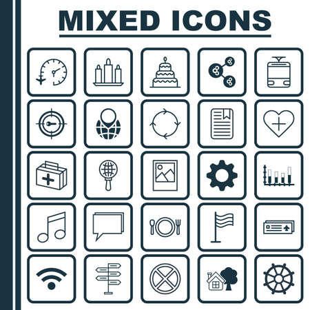 Set Of 25 Universal Editable Icons. Can Be Used For Web, Mobile And App Design. Includes Elements Such As First Aid Bag, Pin Earth, Cutlery And More.
