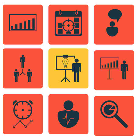 inspiring: Set Of 9 Administration Icons. Includes Personal Character, Opinion Analysis, Company Statistics And Other Symbols. Beautiful Design Elements.