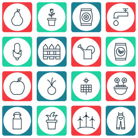 bailer: Set Of 16 Plant Icons. Includes Bailer, Bush Pot, Duchess And Other Symbols. Beautiful Design Elements.
