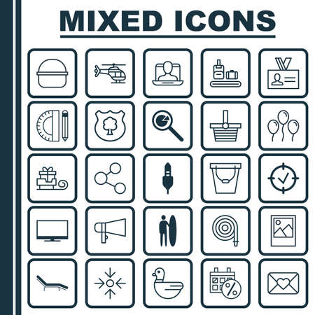 Set Of 25 Universal Editable Icons. Can Be Used For Web, Mobile And App Design. Includes Elements Such As Approved Target, Pannier, Pail And More.