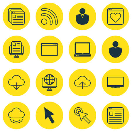 wap: Set Of 16 Internet Icons. Includes Human, Mouse, Followed Website And Other Symbols. Beautiful Design Elements.