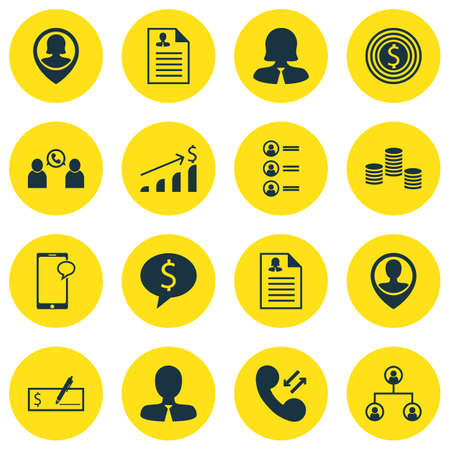 Set Of 16 Management Icons. Includes Successful Investment, Curriculum Vitae, Bank Payment And Other Symbols. Beautiful Design Elements.