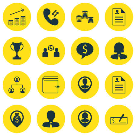 Set Of 16 Management Icons.