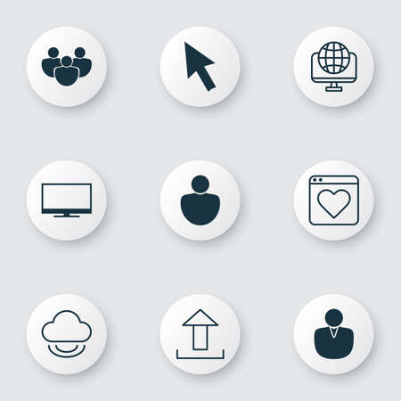 Set Of 9 Internet Icons. Includes Team, Followed Website, Display And Other Symbols. Beautiful Design Elements. Illustration