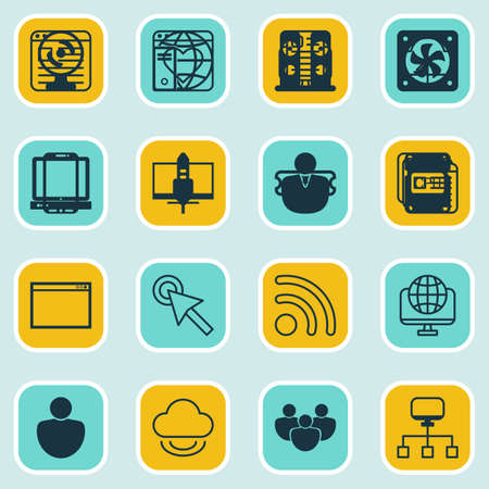 hdtv: Set Of 16 Online Connection Icons. Includes Blog Page, Local Connection, Followed Website And Other Symbols. Beautiful Design Elements. Illustration