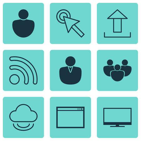 wap: Set Of 9 Internet Icons. Includes Program, Human, Send Data And Other Symbols. Beautiful Design Elements. Illustration