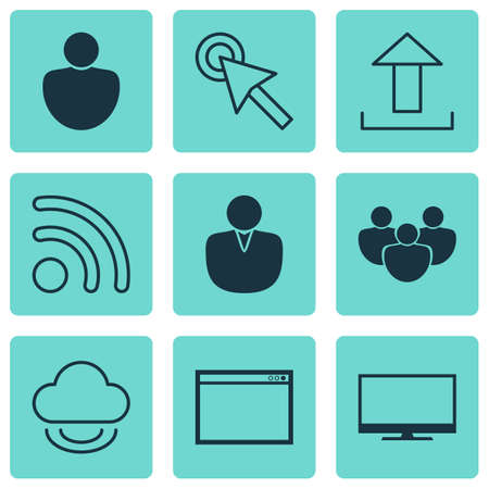 Set Of 9 Internet Icons. Includes Program, Human, Send Data And Other Symbols. Beautiful Design Elements. Illustration