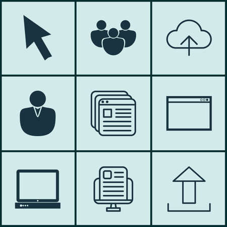 wap: Set Of 9 Web Icons. Includes Program, Website Bookmarks, Blog Page And Other Symbols. Beautiful Design Elements.