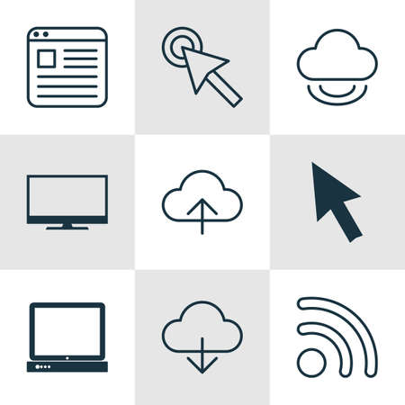 Set Of 9 Internet Icons. Includes Display, Mouse, Website Page And Other Symbols. Beautiful Design Elements.