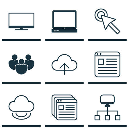 Set Of 9 Web Icons. Includes Display, Virtual Storage, Website Bookmarks And Other Symbols. Beautiful Design Elements.