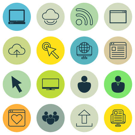 wap: Set Of 16 World Wide Web Icons. Includes Program, Team, Wifi And Other Symbols. Beautiful Design Elements. Illustration