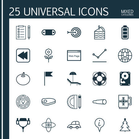 Set Of 25 Universal Editable Icons. Can Be Used For Web, Mobile And App Design. Includes Elements Such As Education Tools, Decorative Plant, Atomic Cpu And More. Illustration