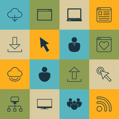 Set Of 16 World Wide Web Icons Includes Local Connection Website