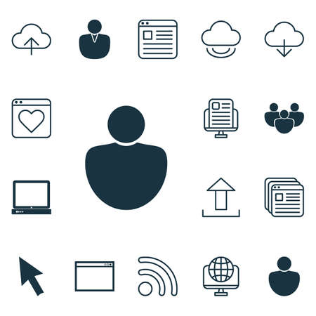 wap: Set Of 16 Web Icons. Includes Program, Website Bookmarks, Blog Page And Other Symbols. Beautiful Design Elements.