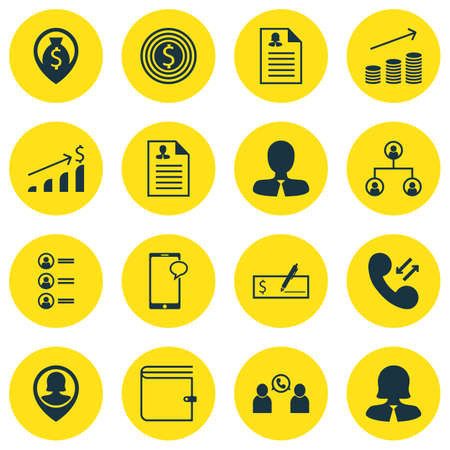 Set Of 16 Human Resources Icons. Includes Bank Payment, Messaging, Manager And Other Symbols. Beautiful Design Elements.