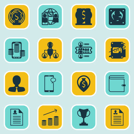 stock market quote: Set Of 16 Hr Icons. Includes Job Applicants, Manager, Wallet And Other Symbols. Beautiful Design Elements. Illustration