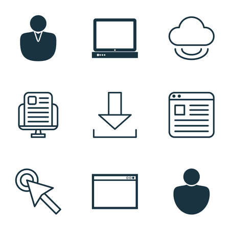 wap: Set Of 9 Online Connection Icons. Includes Human, Account, Virtual Storage And Other Symbols. Beautiful Design Elements.