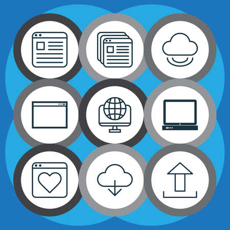 wap: Set Of 9 World Wide Web Icons. Includes Virtual Storage, Website Page, Followed Website And Other Symbols. Beautiful Design Elements. Illustration