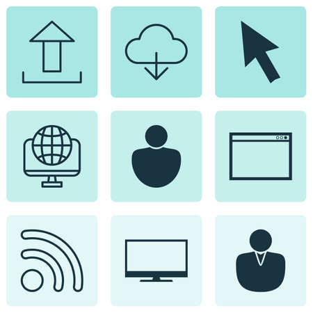 hdtv: Set Of 9 Online Connection Icons. Includes Account, Program, Human And Other Symbols. Beautiful Design Elements. Illustration